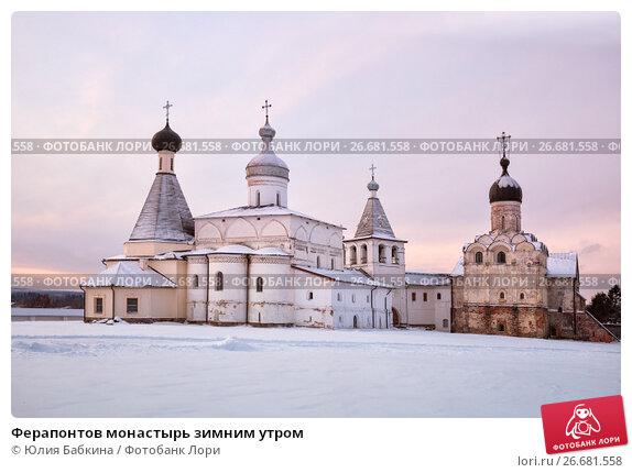 Купить «Ферапонтов монастырь зимним утром», фото № 26681558, снято 6 января 2016 г. (c) Юлия Бабкина / Фотобанк Лори