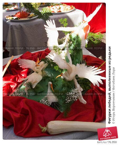 Купить «Фигурки лебедей, выполненные из редьки», фото № 76950, снято 18 августа 2007 г. (c) Игорь Ворончихин / Фотобанк Лори