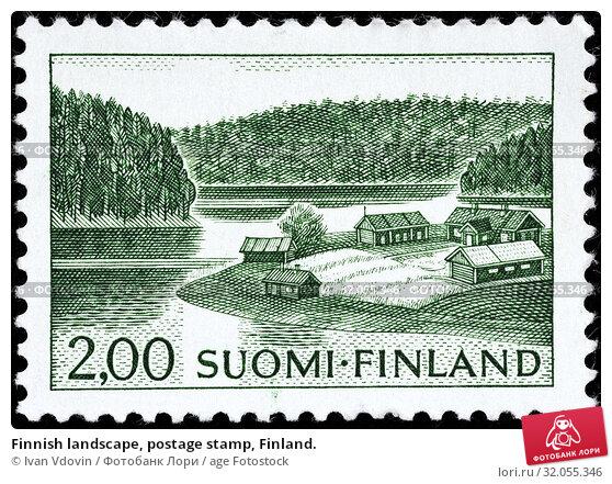Finnish landscape, postage stamp, Finland. (2014 год). Редакционное фото, фотограф Ivan Vdovin / age Fotostock / Фотобанк Лори