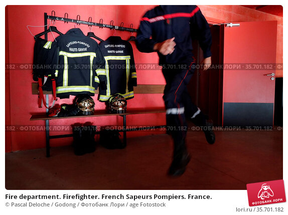 Fire department. Firefighter. French Sapeurs Pompiers. France. Стоковое фото, фотограф Pascal Deloche / Godong / age Fotostock / Фотобанк Лори
