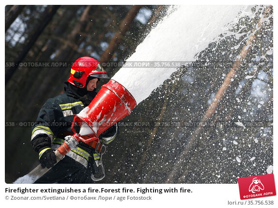 Firefighter extinguishes a fire.Forest fire. Fighting with fire. Стоковое фото, фотограф Zoonar.com/Svetlana / age Fotostock / Фотобанк Лори