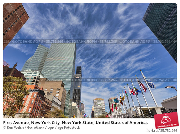 First Avenue, New York City, New York State, United States of America. Стоковое фото, фотограф Ken Welsh / age Fotostock / Фотобанк Лори