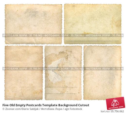 Five Old Empty Postcards Template Background Cutout. Стоковое фото, фотограф Zoonar.com/Dario Sabljak / age Fotostock / Фотобанк Лори