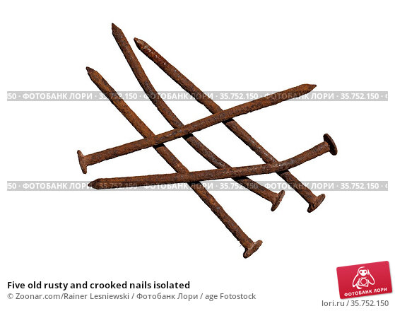 Five old rusty and crooked nails isolated. Стоковое фото, фотограф Zoonar.com/Rainer Lesniewski / age Fotostock / Фотобанк Лори