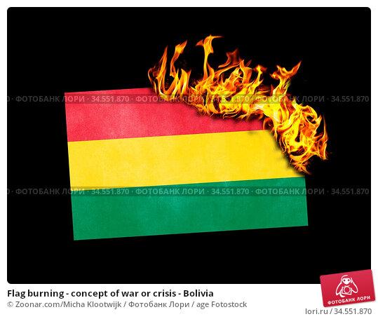 Flag burning - concept of war or crisis - Bolivia. Стоковое фото, фотограф Zoonar.com/Micha Klootwijk / age Fotostock / Фотобанк Лори