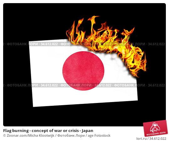 Flag burning - concept of war or crisis - Japan. Стоковое фото, фотограф Zoonar.com/Micha Klootwijk / age Fotostock / Фотобанк Лори