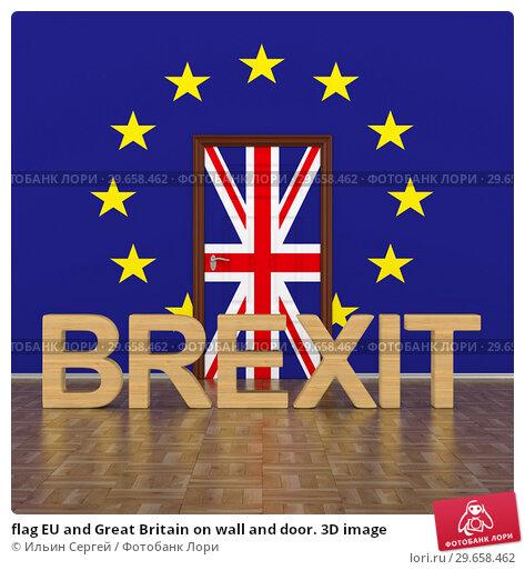 Купить «flag EU and Great Britain on wall and door. 3D image», иллюстрация № 29658462 (c) Ильин Сергей / Фотобанк Лори