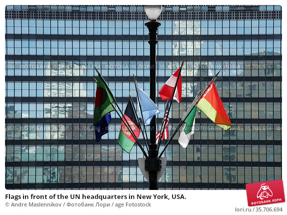 Flags in front of the UN headquarters in New York, USA. Стоковое фото, фотограф Andre Maslennikov / age Fotostock / Фотобанк Лори