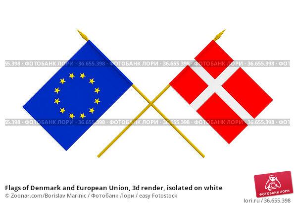 Flags of Denmark and European Union, 3d render, isolated on white. Стоковое фото, фотограф Zoonar.com/Borislav Marinic / easy Fotostock / Фотобанк Лори