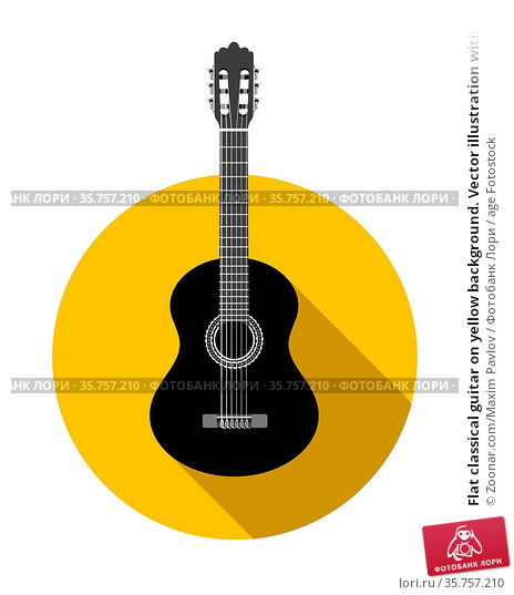 Flat classical guitar on yellow background. Vector illustration with... Стоковое фото, фотограф Zoonar.com/Maxim Pavlov / age Fotostock / Фотобанк Лори