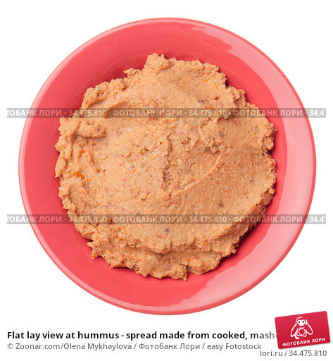 Flat lay view at hummus - spread made from cooked, mashed chickpeas... Стоковое фото, фотограф Zoonar.com/Olena Mykhaylova / easy Fotostock / Фотобанк Лори