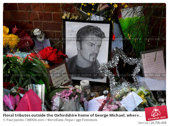 Купить «Floral tributes outside the Oxfordshire home of George Michael, where he was found dead on Christmas Day at Goring-on-Thames Featuring: Atmosphere Where...», фото № 28700458, снято 28 декабря 2016 г. (c) age Fotostock / Фотобанк Лори