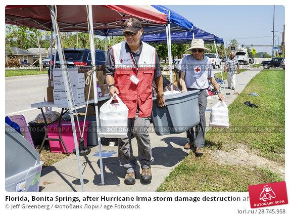 Купить «Florida, Bonita Springs, after Hurricane Irma storm damage destruction aftermath, disaster recovery relief, donations distribution site point, Red Cross...», фото № 28745958, снято 26 сентября 2017 г. (c) age Fotostock / Фотобанк Лори