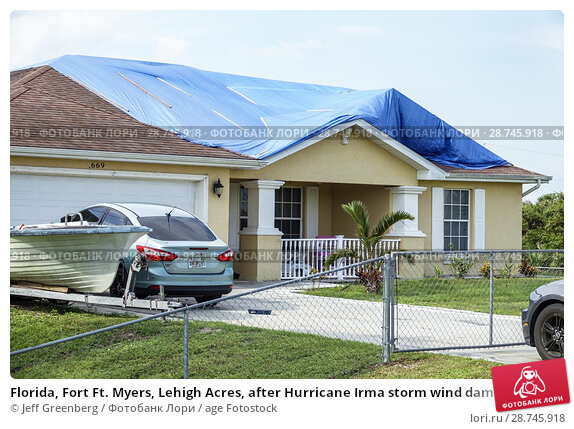 Купить «Florida, Fort Ft. Myers, Lehigh Acres, after Hurricane Irma storm wind damage destruction aftermath, blue tarp waterproof covering roof, house home residence, exterior front yard, driveway,», фото № 28745918, снято 25 сентября 2017 г. (c) age Fotostock / Фотобанк Лори