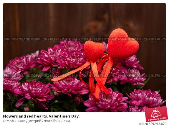 Купить «Flowers and red hearts. Valentine's Day.», фото № 29918870, снято 16 января 2017 г. (c) Мельников Дмитрий / Фотобанк Лори