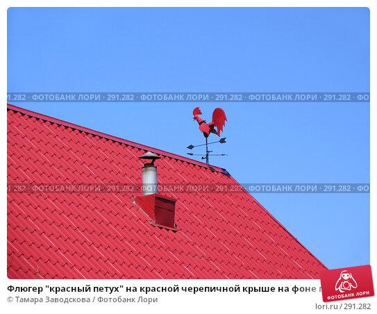 """Флюгер """"красный петух"""" на красной черепичной крыше на фоне голубого неба, эксклюзивное фото № 291282, снято 9 мая 2008 г. (c) Тамара Заводскова / Фотобанк Лори"""