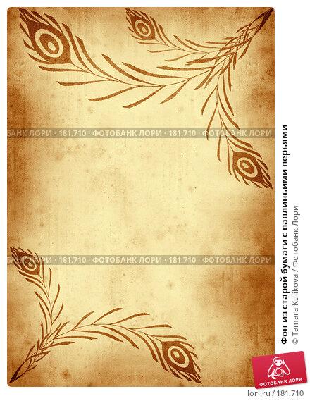 Фон из старой бумаги с павлиньими перьями, иллюстрация № 181710 (c) Tamara Kulikova / Фотобанк Лори