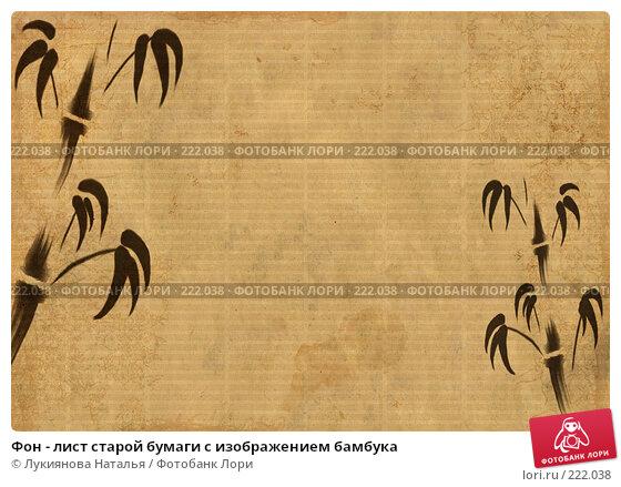 Фон - лист старой бумаги с изображением бамбука, иллюстрация № 222038 (c) Лукиянова Наталья / Фотобанк Лори