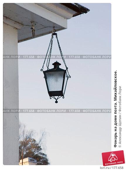 Фонарь на доме поэта. Михайловское., эксклюзивное фото № 177658, снято 5 января 2008 г. (c) Александр Щепин / Фотобанк Лори