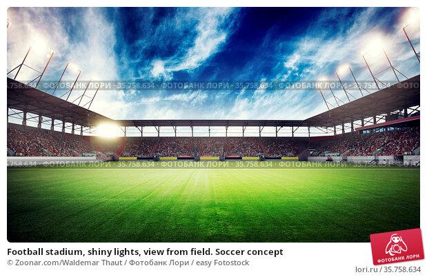 Football stadium, shiny lights, view from field. Soccer concept. Стоковое фото, фотограф Zoonar.com/Waldemar Thaut / easy Fotostock / Фотобанк Лори