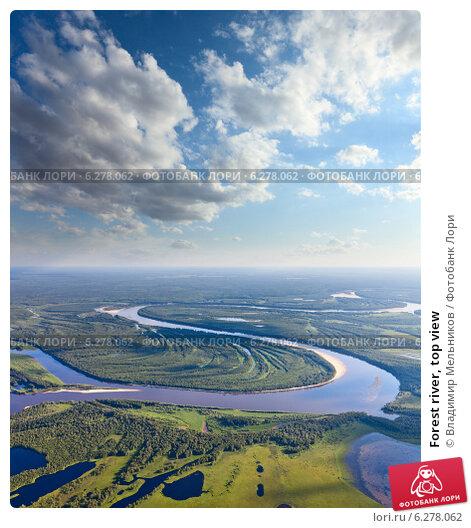 Forest river, top view. Стоковое фото, фотограф Владимир Мельников / Фотобанк Лори