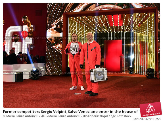 Former competitors Sergio Volpini, Salvo Veneziano enter in the house of ' The grande fratello Vip ' ( The big brother Vip ) Rome, ITALY-08-01-2020. Редакционное фото, фотограф Maria Laura Antonelli / AGF/Maria Laura Antonelli / age Fotostock / Фотобанк Лори