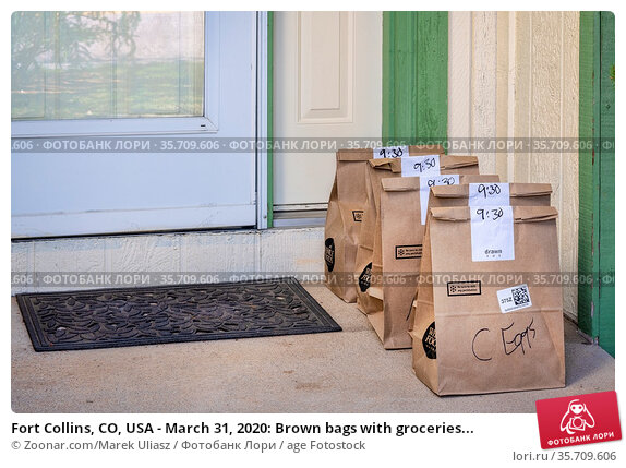 Fort Collins, CO, USA - March 31, 2020: Brown bags with groceries... Стоковое фото, фотограф Zoonar.com/Marek Uliasz / age Fotostock / Фотобанк Лори