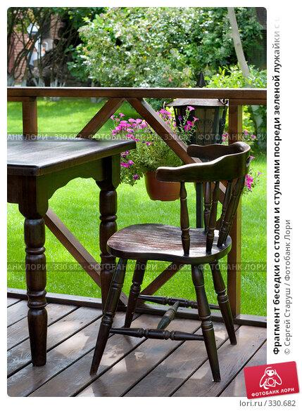 Фрагмент беседки со столом и стульями посреди зеленой лужайки с цветами и деревьями, фото № 330682, снято 21 июня 2008 г. (c) Сергей Старуш / Фотобанк Лори