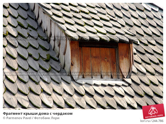 Фрагмент крыши дома с чердаком, фото № 244786, снято 4 апреля 2008 г. (c) Parmenov Pavel / Фотобанк Лори