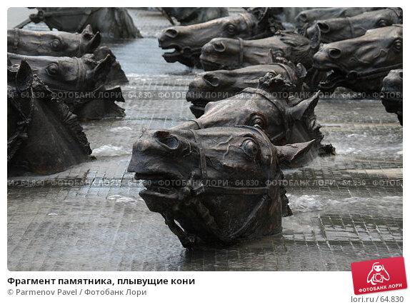 Купить «Фрагмент памятника, плывущие кони», фото № 64830, снято 16 июля 2007 г. (c) Parmenov Pavel / Фотобанк Лори