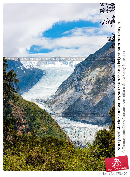 Franz Josef Glacier and valley surrounds on a bright summer day in... Стоковое фото, фотограф Zoonar.com/Chris Putnam / easy Fotostock / Фотобанк Лори
