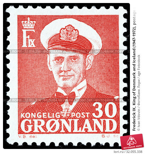 Frederick IX, King of Denmark and Iceland (1947-1972), postage stamp, Greenland, 1959. (2014 год). Редакционное фото, фотограф Ivan Vdovin / age Fotostock / Фотобанк Лори