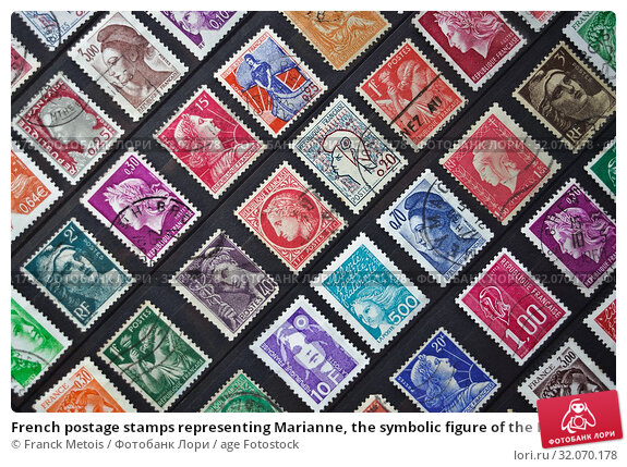 French postage stamps representing Marianne, the symbolic figure of the French Republic. (2019 год). Редакционное фото, фотограф Franck Metois / age Fotostock / Фотобанк Лори