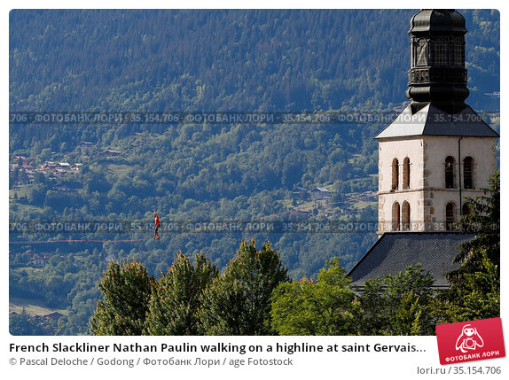French Slackliner Nathan Paulin walking on a highline at saint Gervais... Стоковое фото, фотограф Pascal Deloche / Godong / age Fotostock / Фотобанк Лори