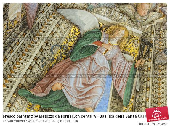 Fresco painting by Melozzo da Forli (15th century), Basilica della Santa Casa interior, Loreto, Ancona, Marche, Italy. Стоковое фото, фотограф Ivan Vdovin / age Fotostock / Фотобанк Лори