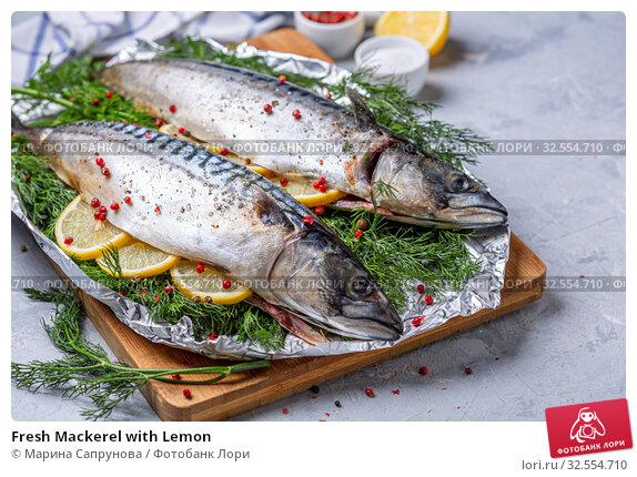 Купить «Fresh Mackerel with Lemon», фото № 32554710, снято 27 ноября 2019 г. (c) Марина Сапрунова / Фотобанк Лори