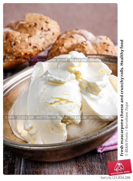 Купить «Fresh mascarpone cheese and crunchy rolls. Healthy food», фото № 21834298, снято 27 мая 2020 г. (c) BE&W Photo / Фотобанк Лори
