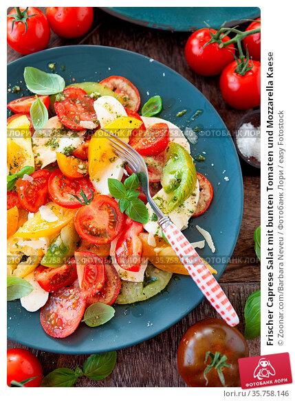 Frischer Caprese Salat mit bunten Tomaten und Mozzarella Kaese. Стоковое фото, фотограф Zoonar.com/Barbara Neveu / easy Fotostock / Фотобанк Лори