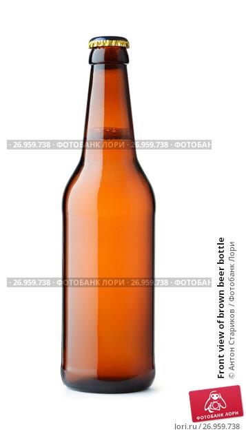 Купить «Front view of brown beer bottle», фото № 26959738, снято 8 августа 2017 г. (c) Антон Стариков / Фотобанк Лори