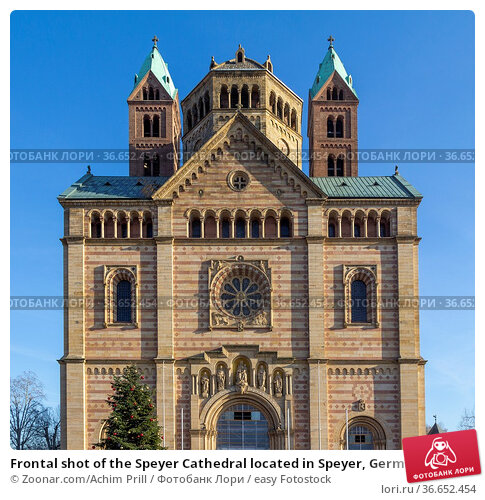 Frontal shot of the Speyer Cathedral located in Speyer, Germany at... Стоковое фото, фотограф Zoonar.com/Achim Prill / easy Fotostock / Фотобанк Лори