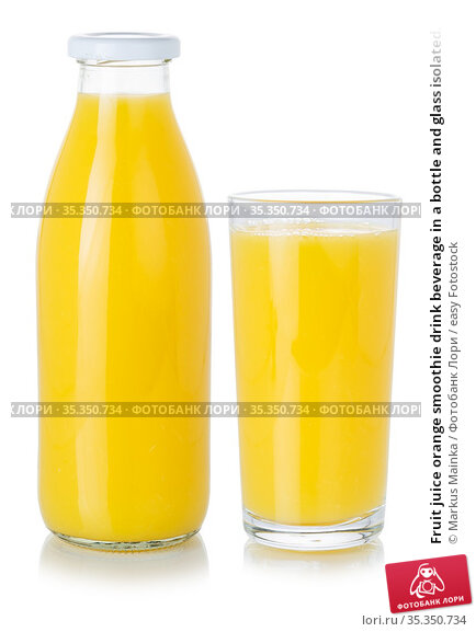 Fruit juice orange smoothie drink beverage in a bottle and glass isolated... Стоковое фото, фотограф Markus Mainka / easy Fotostock / Фотобанк Лори