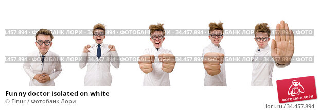 Funny doctor isolated on white. Стоковое фото, фотограф Elnur / Фотобанк Лори