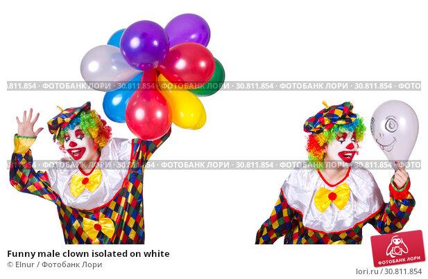 Купить «Funny male clown isolated on white», фото № 30811854, снято 24 августа 2019 г. (c) Elnur / Фотобанк Лори