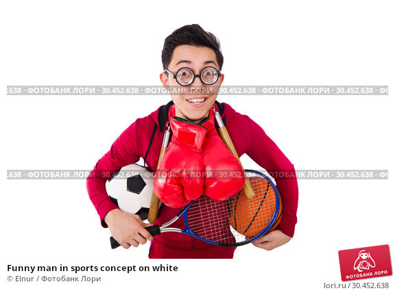 Funny man in sports concept on white. Стоковое фото, фотограф Elnur / Фотобанк Лори