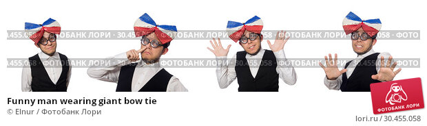 Funny man wearing giant bow tie. Стоковое фото, фотограф Elnur / Фотобанк Лори