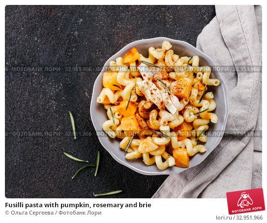 Fusilli pasta with pumpkin, rosemary and brie. Стоковое фото, фотограф Ольга Сергеева / Фотобанк Лори