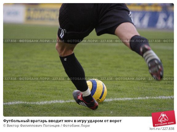 Футбольный вратарь вводит мяч в игру ударом от ворот, фото № 227838, снято 10 сентября 2005 г. (c) Виктор Филиппович Погонцев / Фотобанк Лори