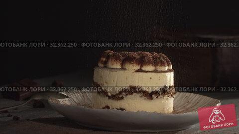 Купить «Garnishing Tiramisu with cocoa powder», видеоролик № 32362250, снято 5 июля 2020 г. (c) Данил Руденко / Фотобанк Лори