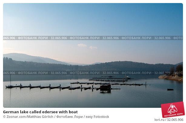 German lake called edersee with boat. Стоковое фото, фотограф Zoonar.com/Matthias Görlich / easy Fotostock / Фотобанк Лори