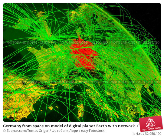 Germany from space on model of digital planet Earth with network. Concept of digital technology, connectivity and travel. 3D illustration. Elements of this image furnished by NASA. Стоковое фото, фотограф Zoonar.com/Tomas Griger / easy Fotostock / Фотобанк Лори